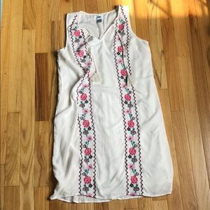 Floral embroidered crepe dress